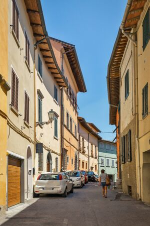 Montopoli in Val dArno narrow Falcone street architecture. It is a municipality in the Province of Pisa in the Italian region Tuscany.