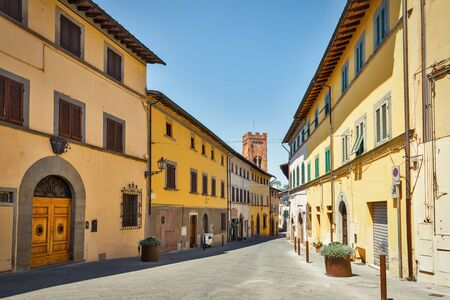 Montopoli in Val dArno narrow street architecture with Campanaria medieval tower. It is a municipality in the Province of Pisa in the Italian region Tuscany.