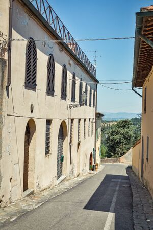Montopoli in Val dArno narrow street architecture. It is a municipality in the Province of Pisa in the Italian region Tuscany.