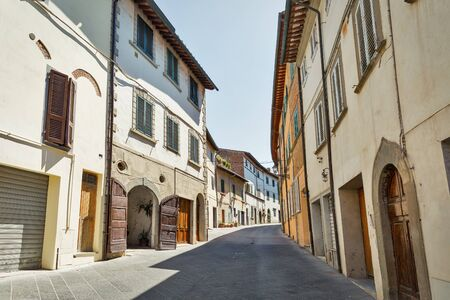 Montopoli in Val d'Arno narrow street medieval architecture. It is a municipality in the Province of Pisa in the Italian region Tuscany.