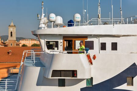 LIVORNO, ITALY - JULY 23, 2019: Captains cabin of Corsica Ferries - Sardinia Ferries ship moored in port. It is a ferry company that operates traffic to and from Corsica, Sardinia and Elba. 에디토리얼
