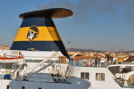 LIVORNO, ITALY - JULY 23, 2019: Ferry ship for Corsica Ferries - Sardinia Ferries moored in port. It is a ferry company that operates traffic to and from Corsica, Sardinia and Elba.
