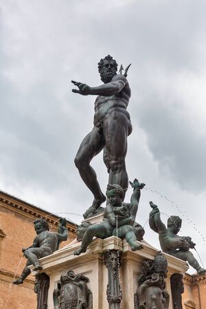Famous Neptune fountain in city historic center. Bologna, Italy.