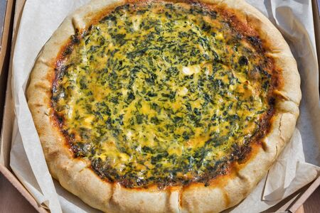 tasty salty pie with greens and eggs closeup Stock fotó