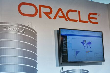 KYIV, UKRAINE - APRIL 06, 2019: Oracle, USA global computer technology corporation booth during CEE 2019, the largest electronics trade show of Ukraine in Tetra Pack EC.