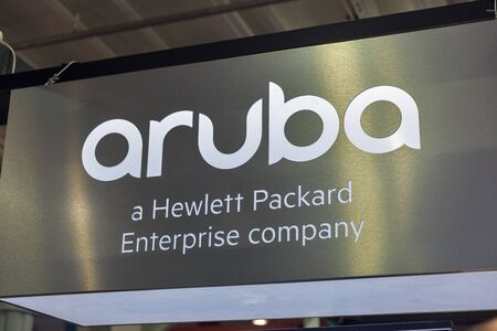 KYIV, UKRAINE - APRIL 06, 2019: Aruba, a Hewlett Packard Enterprise company booth during CEE 2019, the largest electronics trade show of Ukraine in Tetra Pack EC.