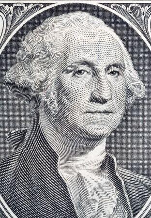 Macro portrait of George Washington US president on one dollar bill