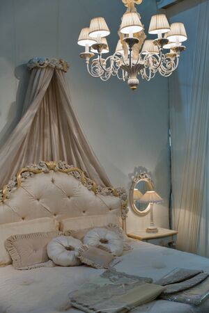 Empty modern elegant bedroom interior in baroque style