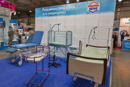 KYIV, UKRAINE - APRIL 20, 2016: Proma Reha Czech producer of high-quality medical equipment and furniture booth during VII International Medical Forum. Company offers about 30 types of medical beds. Editorial