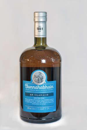 KIEV, UKRAINE - JUNE 08, 2019: Bunnahabhain An Cladach limited edition release Islay single malt Scotch Whisky bottle closeup against white. Distillery was founded in 1881 near Port Askaig on Islay.