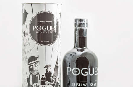 KIEV, UKRAINE - MAY 15, 2020: The Pogues limited edition blended Irish Whiskey triple distilled and matured bottle and box closeup. It is the official whiskey of legendary rock band The Pogues.