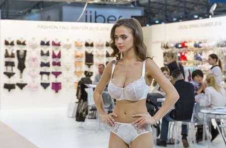 KYIV, UKRAINE - FEBRUARY 07, 2018: Jasmine fashion lingerie young beautiful model at Kyiv Fashion 2018 in KyivExpoPlaza exhibition center. It is the main b2b event of Ukrainian fashion industry.