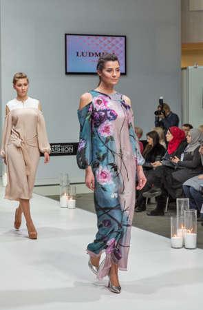 KYIV, UKRAINE - FEBRUARY 07, 2018: Fashion young beautiful models at Kyiv Fashion 2018 in KyivExpoPlaza exhibition center. It is the main b2b event of Ukrainian fashion industry.