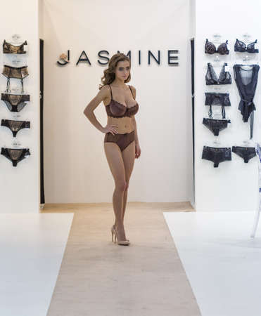 KYIV, UKRAINE - FEBRUARY 08, 2018: Jasmine fashion lingerie young beautiful model at Kyiv Fashion 2018 in KyivExpoPlaza exhibition center. It is the main b2b event of Ukrainian fashion industry.