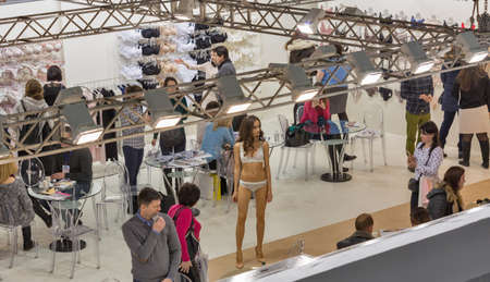 KYIV, UKRAINE - FEBRUARY 07, 2018: Jasmine fashion lingerie show young beautiful model at Kyiv Fashion 2018 in KyivExpoPlaza exhibition center. It is the main b2b event of Ukrainian fashion industry.