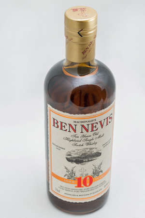 KYIV, UKRAINE - SEPTEMBER 21, 2019: Ben Nevis ten years old Highland Single Malt Scotch Whisky bottle closeup against white background. Ben Nevis is the highest mountain in the British Isles. Éditoriale