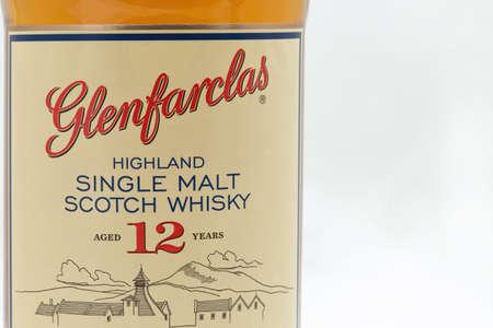 KIEV, UKRAINE - SEPTEMBER 21, 2019: Glenfarclas Highland Single Malt Scotch Whisky bottle label against white. It is Speyside single malt Scotch whisky produced at the distillery in Ballindalloch, Scotland.