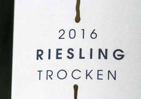 KIEV, UKRAINE - NOVEMBER 11, 2018: German 50 Riesling bottle label closeup. Rheingau region is one of the most important wine growing regions in Germany. Éditoriale