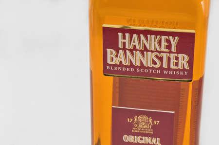 KIEV, UKRAINE - DECEMBER 25, 2018: Hankey Bannister blended Scotch Whisky bottle closeup. Hankey Bannister is blended from Lowland grains and Highland and Speyside malt whiskies. Éditoriale