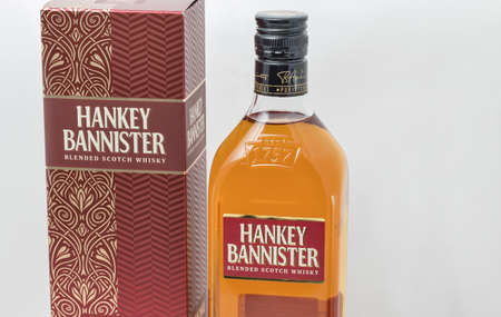 KIEV, UKRAINE - DECEMBER 25, 2018: Hankey Bannister blended Scotch Whisky bottle and box closeup. Hankey Bannister is blended from Lowland grains and Highland and Speyside malt whiskies.