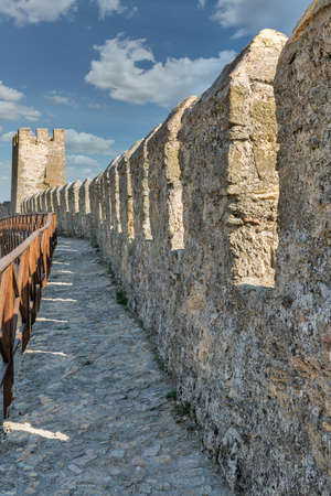 Walls of ancient Bilhorod-Dnistrovskyi or Akkerman fortress on the bank of the estuary in Ukraine.
