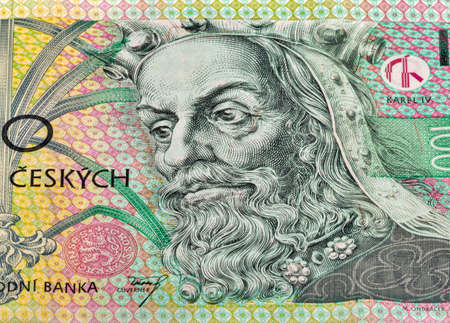Part of a banknote of 100 Czech crowns closeup with Karl IV Luxembourg portrait