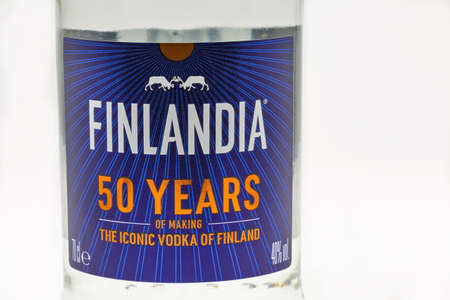 KYIV, UKRAINE - OCTOBER 03, 2020: Finlandia vodka bottle label closeup against white. Finlandia vodka has been produced from barley and pure glacier water since 1970.