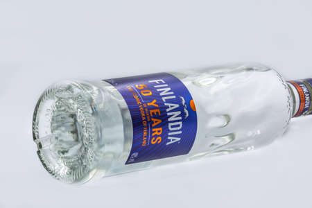 KYIV, UKRAINE - OCTOBER 03, 2020: Finlandia vodka bottle closeup against white. Finlandia vodka has been produced from barley and pure glacier water since 1970.