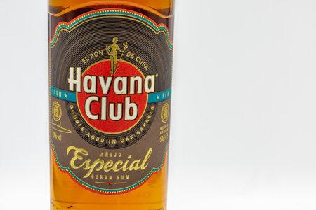 KYIV, UKRAINE - DECEMBER 16, 2020: Studio shoot of Havana Club Special Cuban rum bottle label closeup against white. Made in Santa Cruz del Norte, Cuba, the brand was established in 1878.