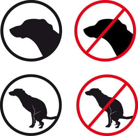 signs of dog-walking and the ban Vector