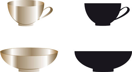 vector image of gold cups and plates Vector