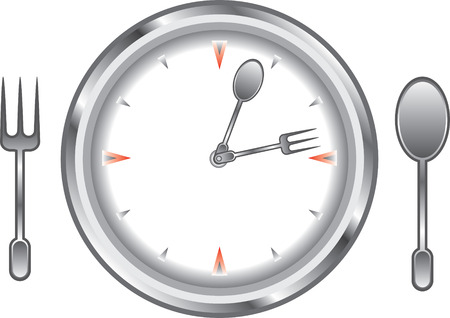 o'clock: clock face with a fork and spoon