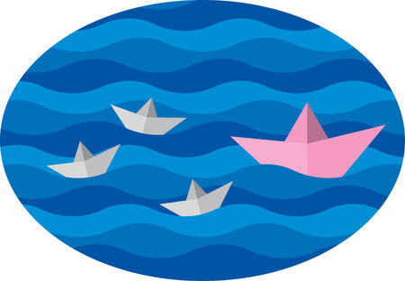 family paper boat in a pool with waves