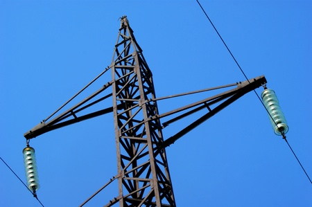 Transmission line on a background of the blue sky photo