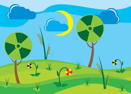 abstract landscape with plants with radiation symbols Vector