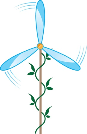 wind turbine blade and a green stalk of the plant