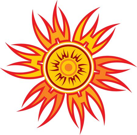 ethnic design: red-hot red abstract image of the sun
