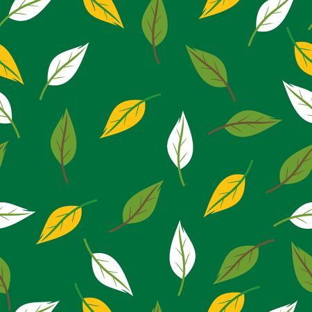 seamless texture with flying green leaves