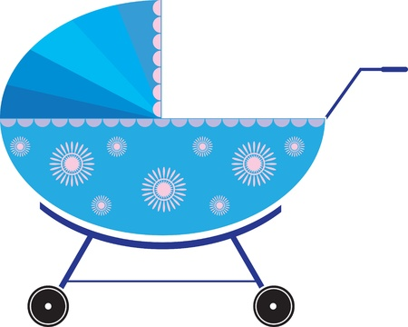 blue pushchair with designs on the sides Vector