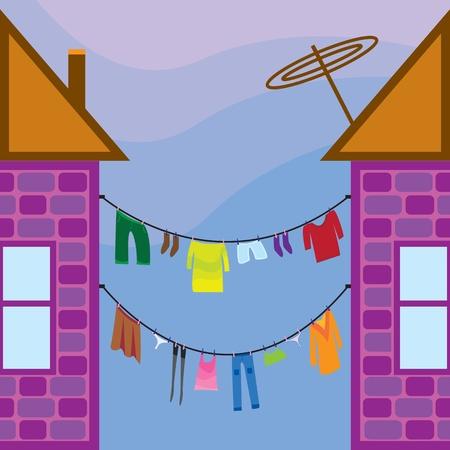 집들 사이에 빨래 옷 스톡 콘텐츠 - 9629304