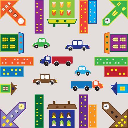 nahtlose Texturen der städtischen Landschaft mit Autos und Häuser