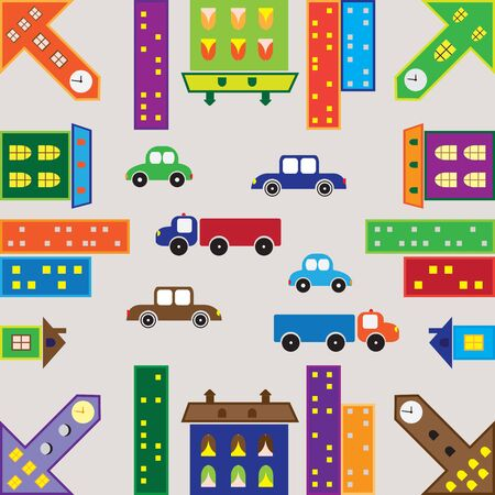 seamless textures of the urban landscape with cars and houses Illustration