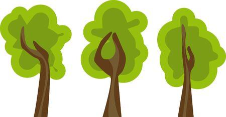 reforestaci�n: conjunto de �rboles verdes abstractos Vectores