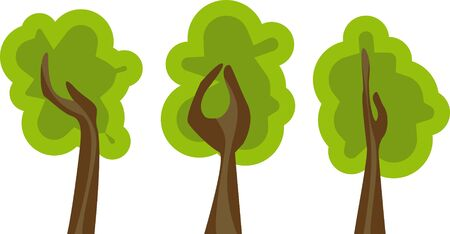 set of abstract green trees Illustration