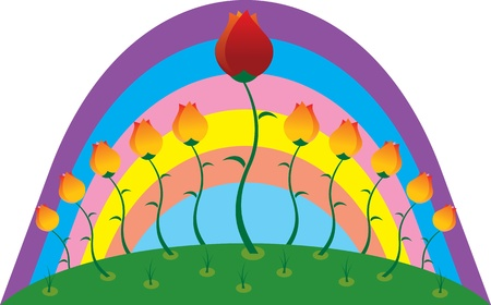 flowerbed: bed with tulips in the background of the rainbow Illustration