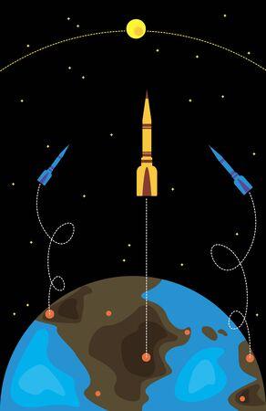 trajectoire: vaisseaux spatiaux d�coller de la Terre dans l'espace Illustration
