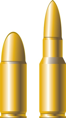 two gold cartridges for firearms