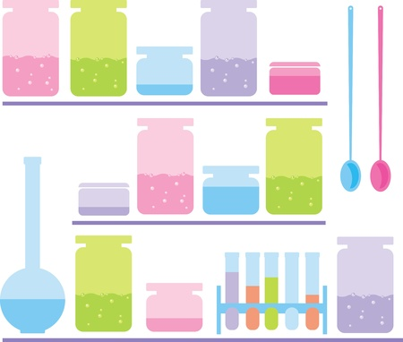 volumetric: shelves in the chemistry lab with glass jars Illustration