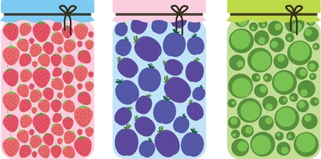 canning: canned fruits in glass jars Illustration