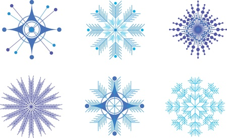 set snowflakes for Christmas Illustration